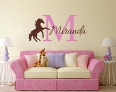 Horse Wall Decal, Personalized Horse Decal, Horse Decor, Nursery Name Decal, Horse Nursery, Horse Name Decal - WD0059