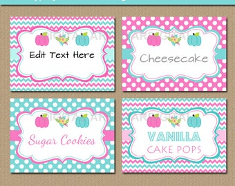 Pumpkin Gender Reveal Labels - Gender Reveal Candy Buffet Labels - Baby Reveal Food Labels - Pink Aqua Labels - Gender Reveal Food Tents