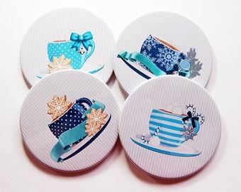 Christmas Coasters, Christmas Decor, Coasters, Hostess Gift, Set of Coasters, Stocking Stuffer, blue, Tea Coasters, Coffee Coasters (5247)