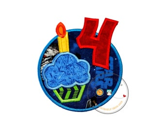 Cupcake Star Wars Boy birthday circle iron on applique, Embroidered iron on fourth birthday patch for boys, personalized birthday patch