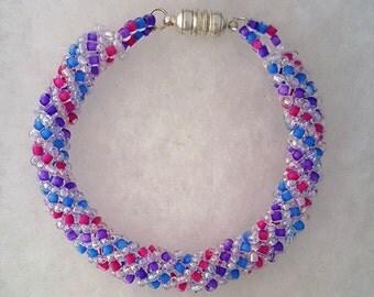 Spring Around Clear, Dark Lilac, Aqua Blue, & Hot Pink Spiral Tubular Bracelet