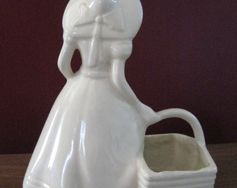 1940s Hull Pottery - Figure Planter -  Lady in Sundress and Hat Carrying Basket -  American Made in USA