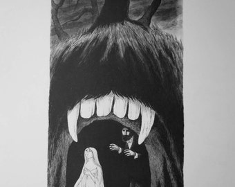 VINTAGE large Edward GOREY print / poster 1970s DRACULA and Lucy Vampire Gothic goth Count Dracula gory Moon