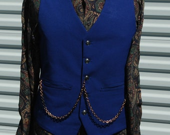 Mens Medium Blue Steampunk Vest Mr. Lovingsgood