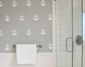 Anchors Vinyl Wall Decals Set Of 50, Bathroom, Living Room, Kids Room decor, Wall Sticker, Home Decoration,  Summer Wall Decals - ID668