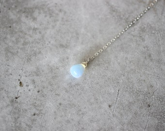 Opalite Lariat Necklace, Y Necklace, Sterling Silver Necklace