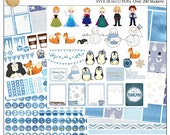 Frozen Printable Planner Kit  5 PDFs, Over 300 Stickers EC or Happy Planner, Blue, Snow, Penguins, Foxes, Snowmen, Princess, Winter,  Icons