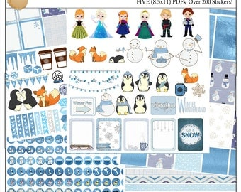 Planner Kit Stickers!  Frozen Printable Planner Kit  5 PDFs Over 300 Stickers EC or Happy Planner Blue Snow Foxes Snowmen