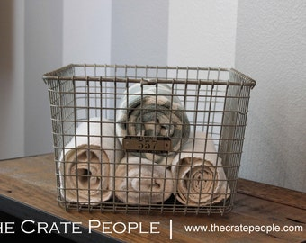 Vintage Wire Baskets with Metal Number Tag | Vintage Industrial Locker Baskets – LYON Baskets, Kasper Baskets