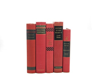 Red Decorative Books, Wedding Decoration, Vintage Book Collection, Crimson Book Decor, Antique Book Set, Instant Library, photography props