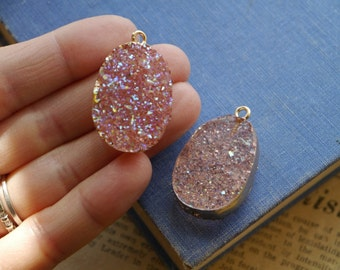 Transparent Pink AB Oval Resin Druzy Pendant With Gold Setting 37mm (AC2952)