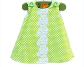 Spring Green - Handmade Crochet Floral - Lace Dress - Baby Dress - Infant Toddler - Aline Pattern - Girls Clothing - KK Children Designs