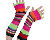 Upcycled Arm Warmers, Colorful Arm Warmers, Upcycled Clothing, Striped Arm Warmers, OOAK Arm Warmers, Handmade Fingerless Gloves