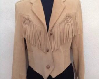 Vintage fabulous suede wheat fringe Western jacket by Pioneer Wear  sz M 12