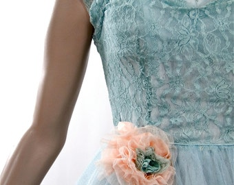 1950's Teal Prom Dress Robin's Egg Blue Lace Over Taffeta with Peachy Pink Prom Corsage