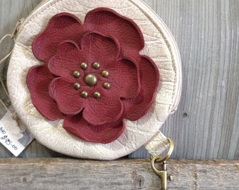 Creamy Gold Crackle Round Leather Wristlet & Rusty Red Flower - Soft Leather Purse - One Of A Kind - Handmade - Gifts for Her