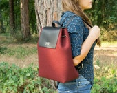 Felt and leather BACKPACK / maroon / felt backpack / red backpack / satchel backpack / wool felt / handmade / made in Italy
