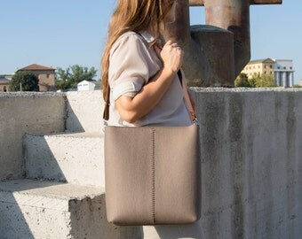 40% OFF - Large felt SHOULDER BAG with leather strap / taupe bag / brown / tote bag / felt tote / wool felt / made in Italy