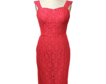 vintage red lace wiggle dress / 1980s does 1950s / floral lace / pinup bombshell vlv / holiday dress / women's vintage dress / size x-small