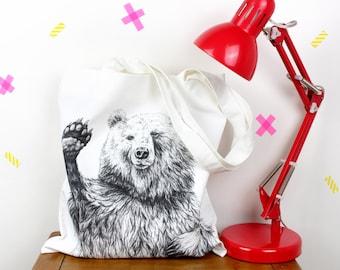 Waving Bear Canvas Tote Bag - long handles