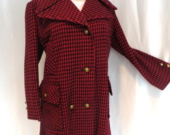 Womens vintage 70s winter wool jacket, red black check coat, Alorna Holly Check, size L XL