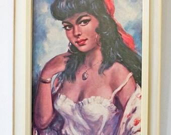 Vintage, Torino print of a Spanish gypsy lady.