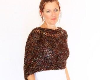 Brown poncho, wrap sweater, handknit wrap, loose knit poncho, winter fashion, Eudora Neckline, ready to ship
