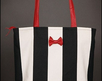 Striped canvas shopper hand bag leather bow tie red offwhite black