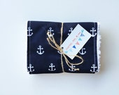 Navy Anchors Burp Cloths, Free Shipping Set of 2, Nautical Baby Shower Gift, Ready to Ship, Boutique Burpees Blue White Gender Neutral Cloth