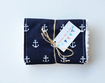 SHOP CLOSING SALE Navy Anchors Burp Cloths Free Shipping Set of 2 Nautical Baby Shower Gift Boutique Burpees Blue White Gender Neutral Cloth