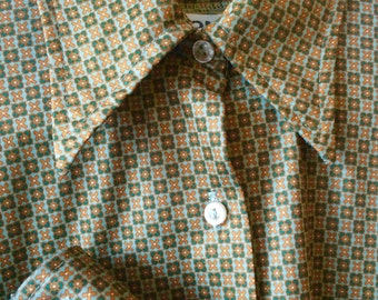 70s Green Flower checked Collared Button Up Shirt