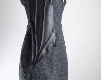 ON SALE OOAK Wool Jacket Vest - Vest Jacket - Wool Jacket - Leather Vest - Black Vest Jacket - Goth Gothic - Steampunk