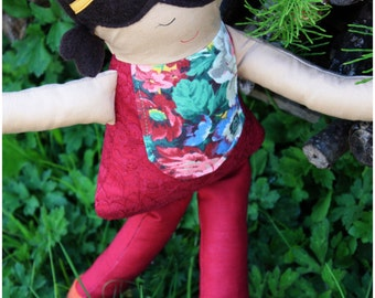 handmade one of a kind recycled fabric doll, brune 13