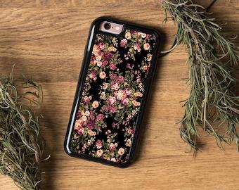 Black Floral iPhone 6 Case Floral iPhone 6S Case Vintage iPhone 5C Case Floral iPhone 5 Case iPhone 6S Plus Case Silicone Case 5S 6 Plus