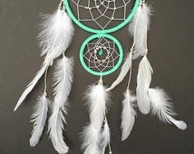 Popular items for dream catcher light on etsy for How to make a double ring dreamcatcher
