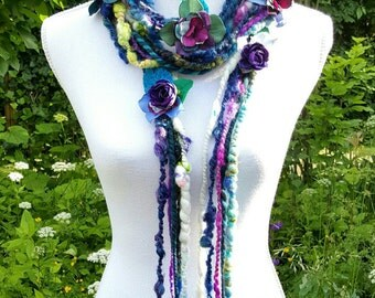 Long Flower Fringe Scarf, Art Yarn Scarf, Flower Garland, Lariat Scarf, Boho Fashion, Eco Friendly Wear, Eclectic Shabby Chic Rustic Wedding