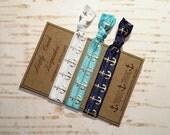 Anchors Away Hair Tie Set / White Turquoise & Navy Anchor Elastic Hair Ties/ Nautical Hair Ties / FOE Hair Ties / Ponytail Holder