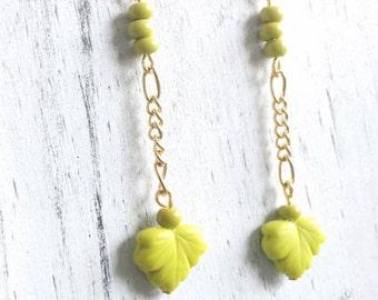 CLEARANCE Chartreuse Green, Czech Glass, Leaf, Bead, Gold, Chain, Earrings