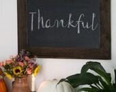 Christmas Gift Chalkboard - Wood Chalkboard with Ledge - Reclaimed Wood Frame - Kitchen Chalkboard - Rustic Modern Decor 28x20