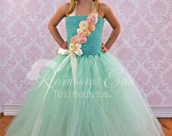 Vintage Dreams - Couture Flower Girl  Tutu Dress in Mint & Ivory SIZES 2T - girls 7