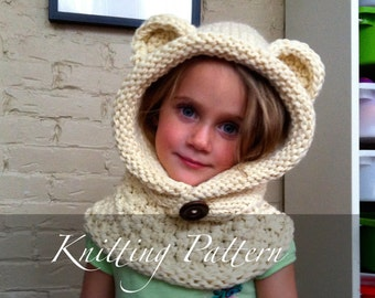 Knitting Pattern Hood With Ears : Girls hand knit cowl Etsy
