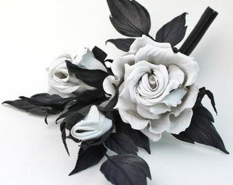 Leather rose corsage, leather anniversary gift for her, black white leather jewelry, rose brooch, white leather rose, 3rd anniversary gift