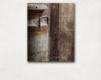 Rustic Photography, Milkcan Vertical Canvas Art, Neutral Kitchen Decor, Denver Colorado Brown & Gray