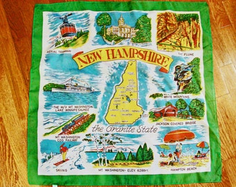 Vintage Souvenir Scarf, New Hampshire State Map Scarf, New Hampshire Map Ladies Scarf, Square Scarf