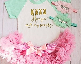 Baby Easter Clothes..Baby Girl Bunny Top Skirt Set..Newborn Clothing..Baby's Birthday Outfit..Photo Prop..Smash the Cake..Petti Skirt Top