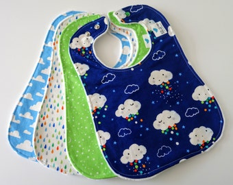 Oversize Baby or Toddler Bibs for Boy, Set of 4 - Clouds, Rain, Stars, Moons, Sky, Raindrops, Minky Back