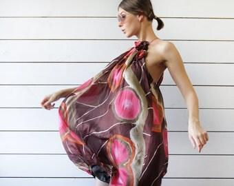 Vintage brown pink silk chiffon abstract naive circle print full babydoll baloon sleeveless bare shoulder tunic midi dress S M