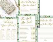Tropical Bridal Shower Games flamingo Printable - Instant Download