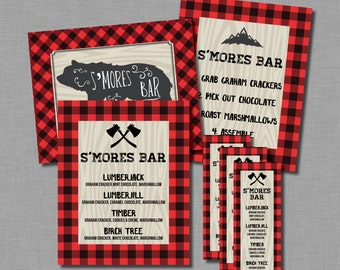 S'mores Bar buffalo plaid station lumberjack party Jacob AP07 Printable - Instant Download