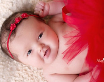 RED TINY Rose Headband, Red Baby Headband, Newborn Headband, Red Headband, Baby Girl Headbands, Christening Headband, Christmas Headband